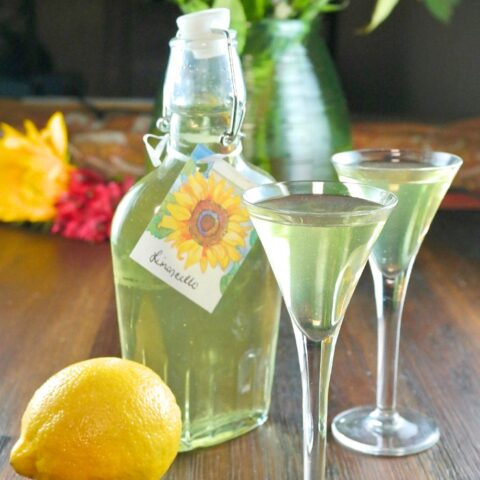 Homemade limoncello recipe in a clear jar and liquor glasses