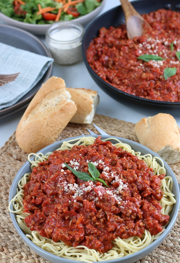 This meat sauce recipe for spaghetti is loaded onto the pasta and ready to be devoured.