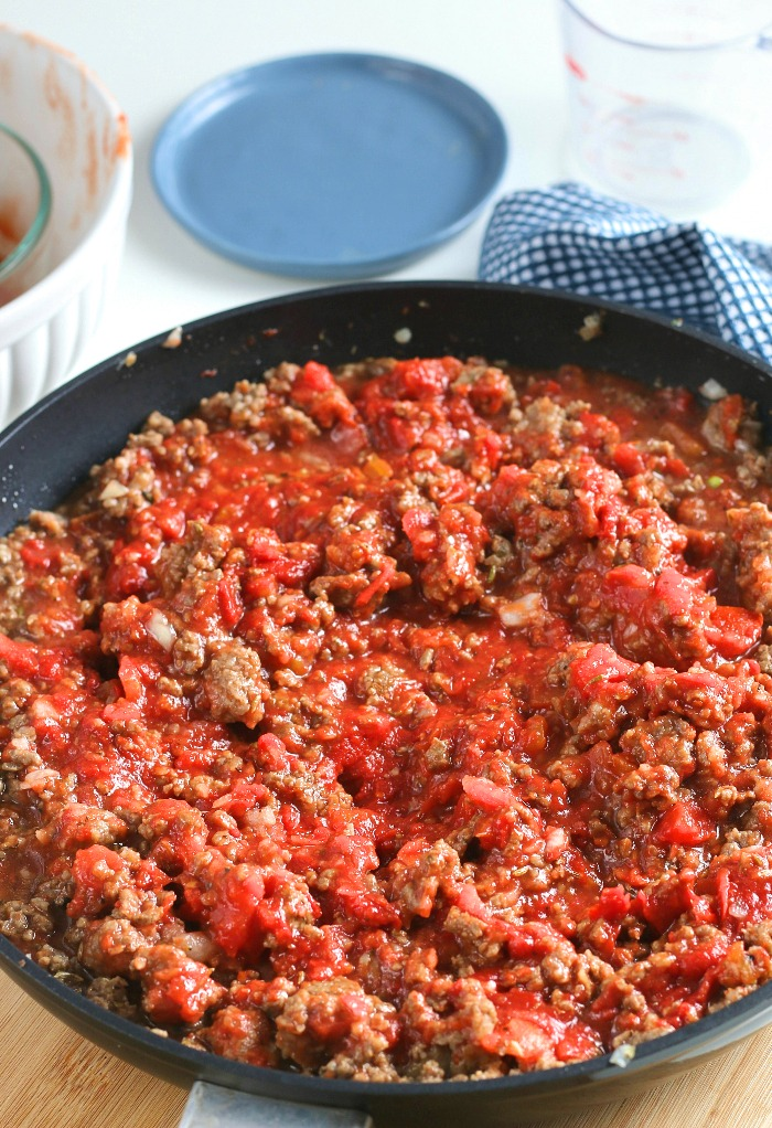 Now the meat sauce recipe is ready to be combined with pasta for an easy dinner recipe!
