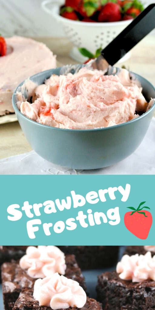 Creamy strawberry frosting recipe made with fresh strawberry puree. Top on all your baked goods!  Easy sugar free swap version as well in this recipe. #dessert #frosting #strawberry