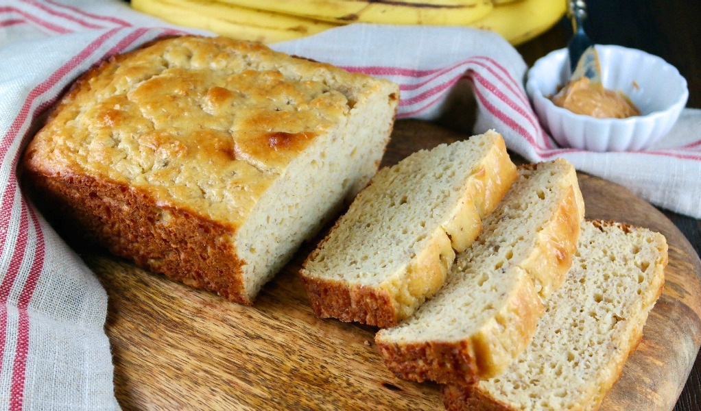 Low carb banana bread made with Carbquick.