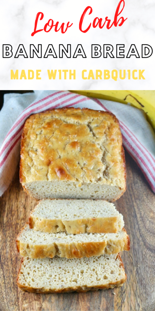 This delicious banana bread is made with real bananas and Carbquick baking mix. Under 5 carbs a slice. Add some peanut butter for a keto snack! #ketodiet #baking #sugarfree