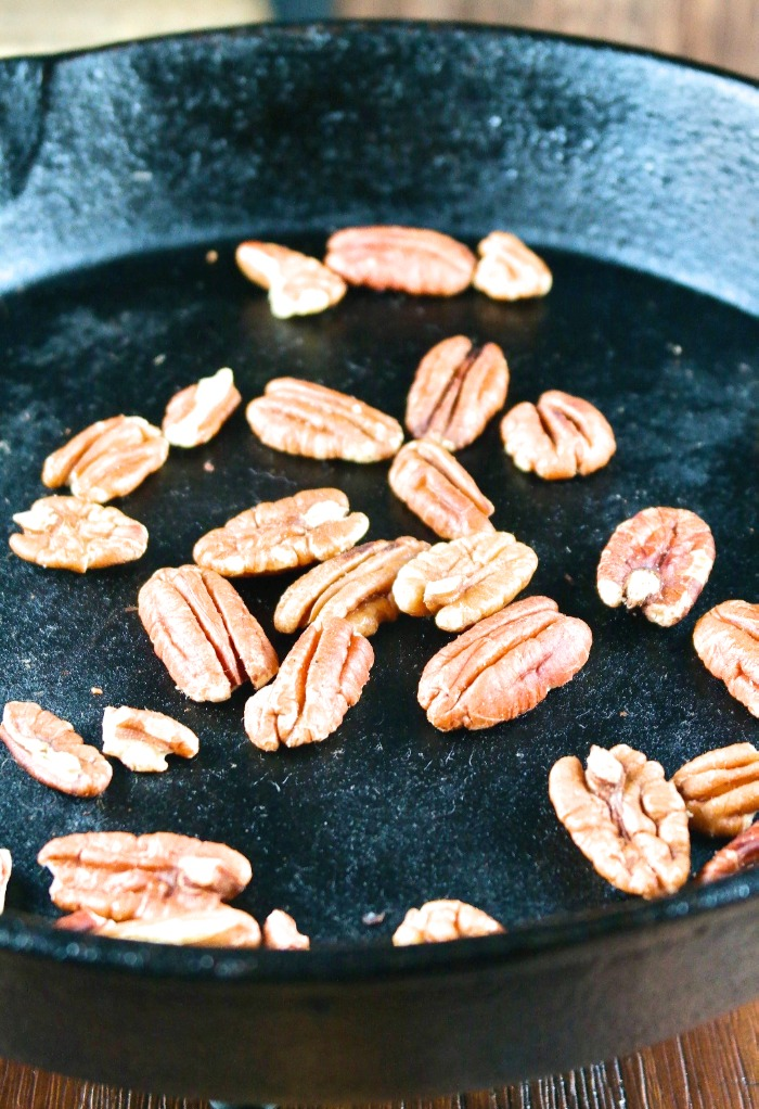 toasting pecans in a iron skillet
