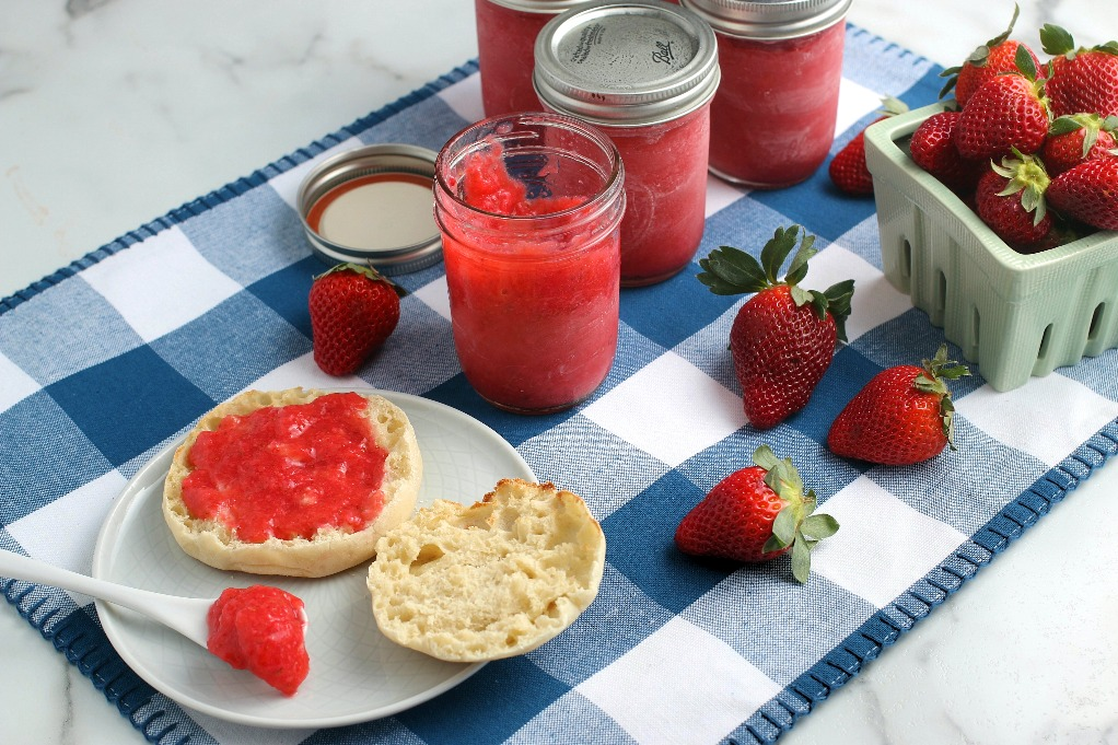 This shot is another view of the finished batch of strawberry freezer jam spread on some english muffin ready to eat.