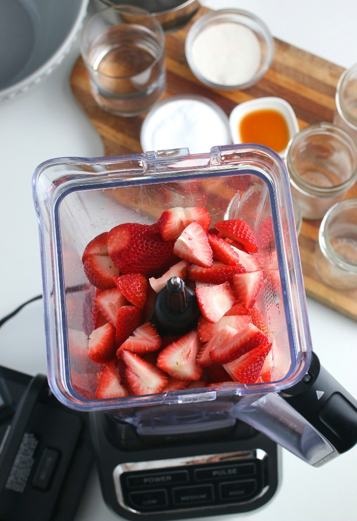 Here we see into the blender before the strawberries are blended up for our strawberry freezer jam recipe.