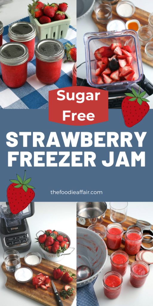 Use fresh or frozen strawberries to make this simple sugar free strawberry freezer jam. This same recipe can be used to make raspberry jam too! #lowcarb #jam #diy