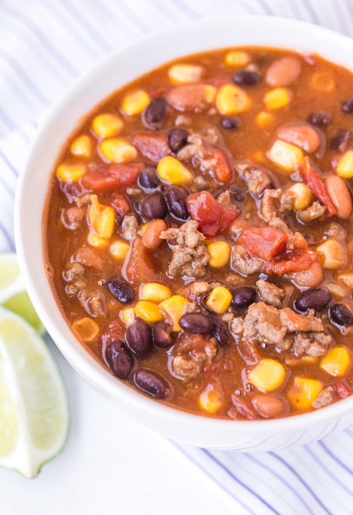 Soup bowl with beans and corn