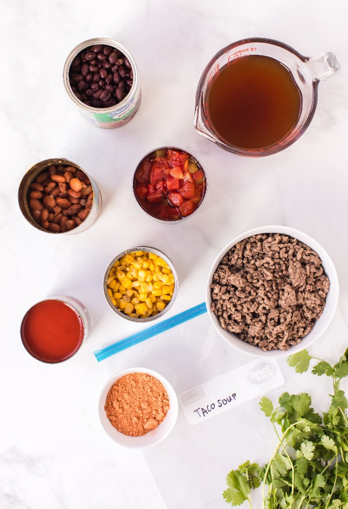 Ingredients to make taco soup