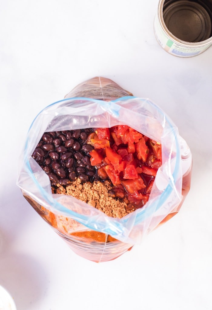 Place ingredients in a freezer bag for taco soup freezer meal