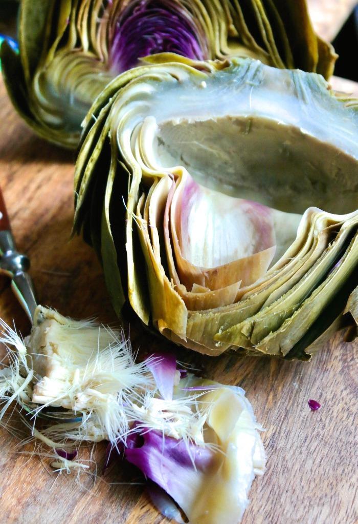 Cut and clean artichoke