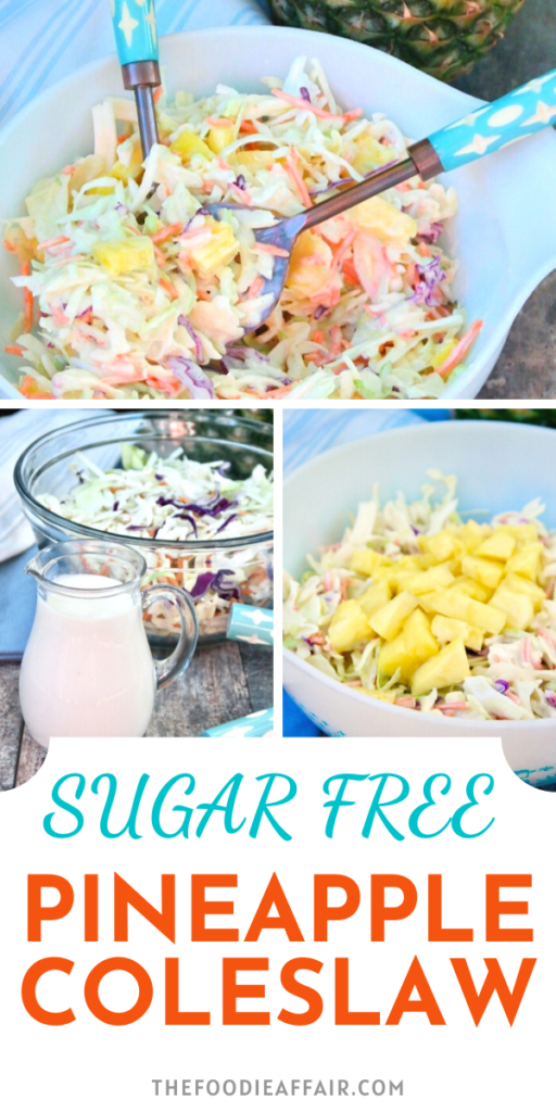 Delicious tropical twist to a traditional coleslaw. Sweet and tangy homemade creamy dressing folded into pre-shredded cabbage and topped with fresh pineapple chunks. Enjoy for your next cookout. #bbq #summer #easyrecipe
