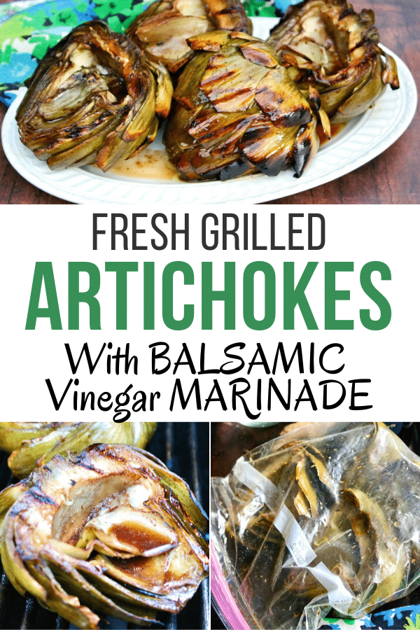 Fresh artichokes lightly steamed, marinaded in a balsamic vinegar marinade, then grilled. Delicious side dish or appetizer. #barbecue #grill