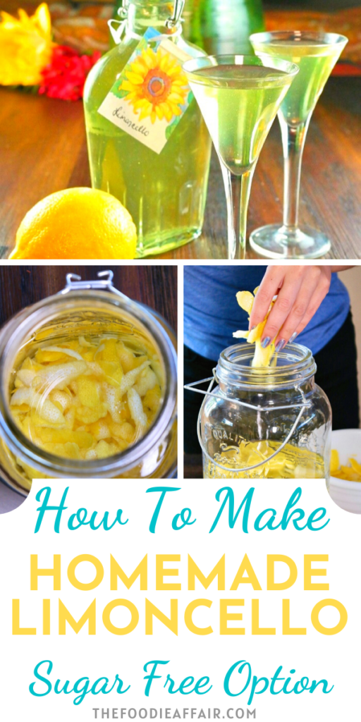 Homemade limoncello is easy to make. All you need is patience to let the lemon peel infuse its citrus flavor. Enjoy as it is or mix into cocktails.