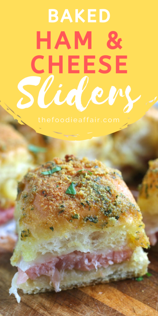 Easy baked sliders with ham and cheese sandwiches. Great quick dinner idea or fun dish to serve at a gathering. Delicious butter sauce makes a nice and crispy coating. #appetizer #sandwich #easyrecipe