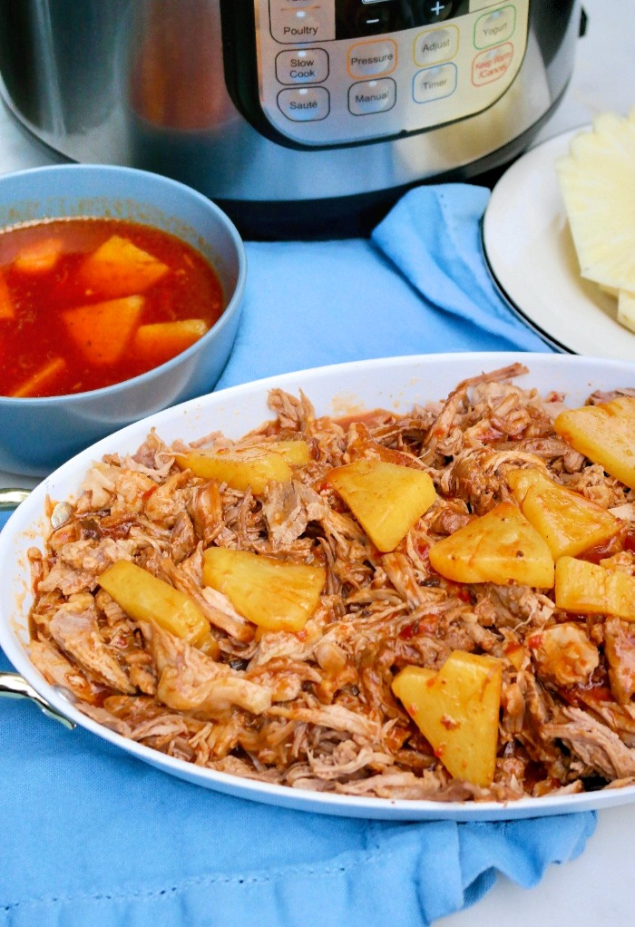 Hawaiian shredded pork made in a pressure cooker.
