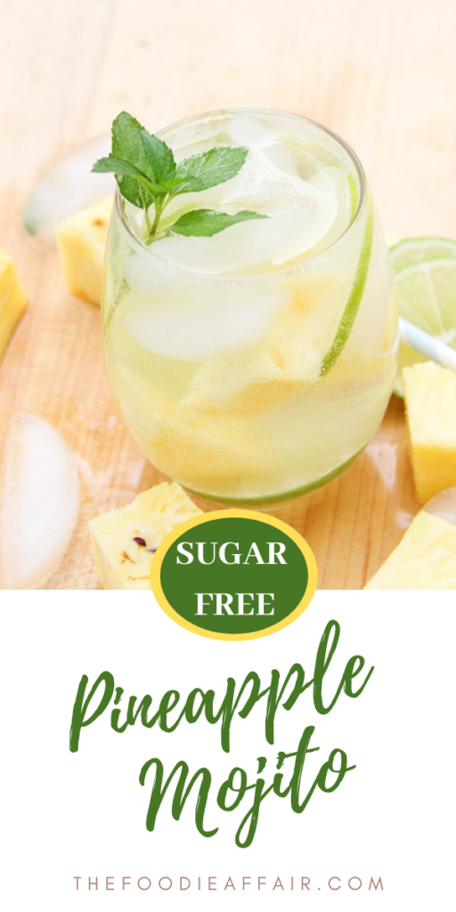 Refreshing pineapple mojito made with fresh chunks of pineapple, lime and mint. Add a little rum and top with club soda! Sweetened lightly with homemade sugar free simple syrup. Oh so good. You need one or two today! #cocktail #pineapple