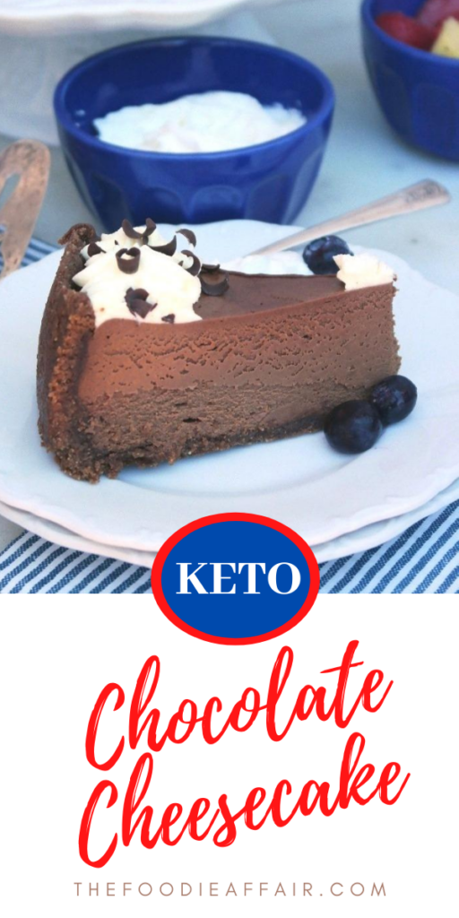 Creamy and decadent sugar free chocolate cheesecake topped with fresh whipped cream. Add to your special celebration menu. Everyone will love this delicious cake! #ketodiet #chocolate