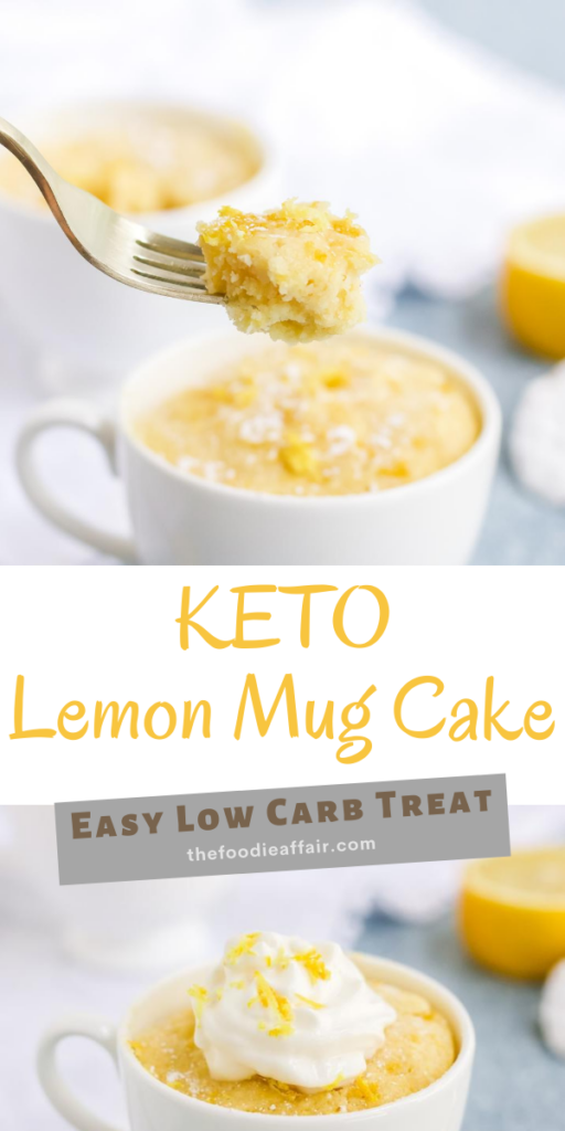 Keto lemon mug cake in a white mug. This sweet and tart personalized cake will hit the sweet tooth spot! #lowcarb #lemon #cake