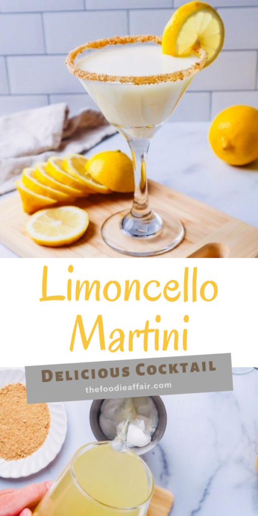 Creamy sweet and tart limoncello martini cocktail