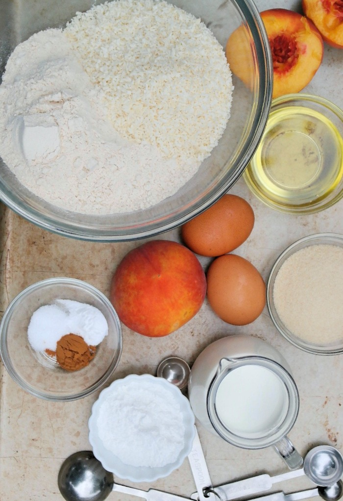 Ingredients used to make peach bread