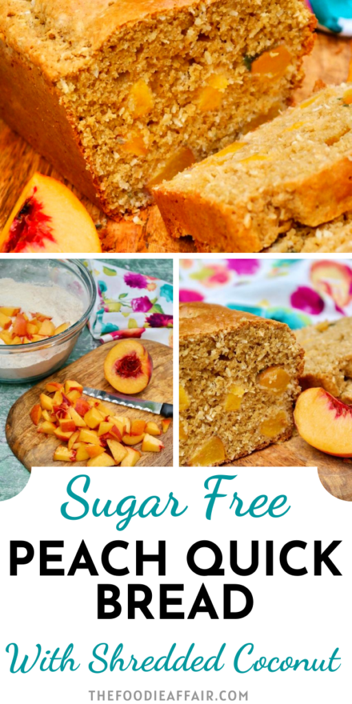 Hot out of the oven is peach bread! This quick bread doesn't require any yeast or waiting times, just mix, bake and enjoy!
