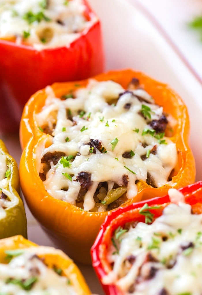 Close up photo of cooked Italian stuffed peppers