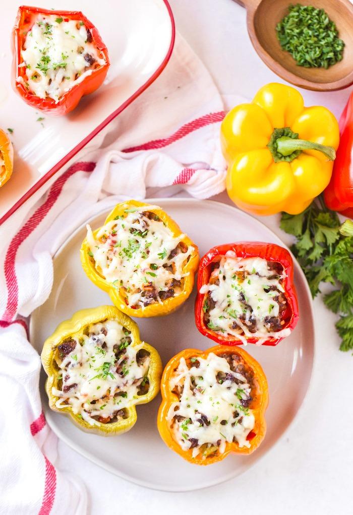 Italian stuffed peppers ready to be eaten