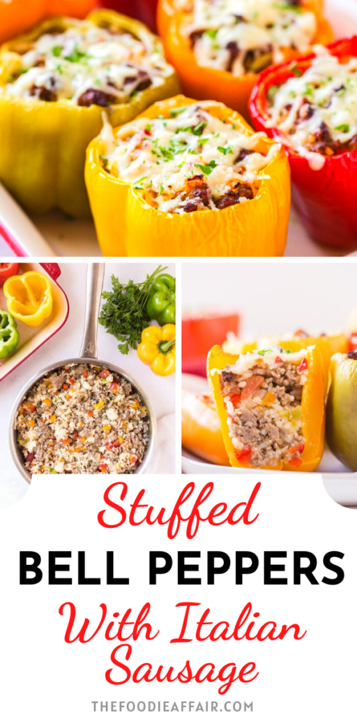 This classic stuffed bell pepper recipe is made with Italian sausage adding lots of flavor to this family meal. Enjoy as a main dish or side to any meal. #peppers #stuffed #dinneridea