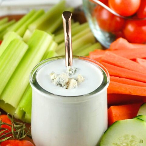 Blue cheese dressing for dipping vegetables.