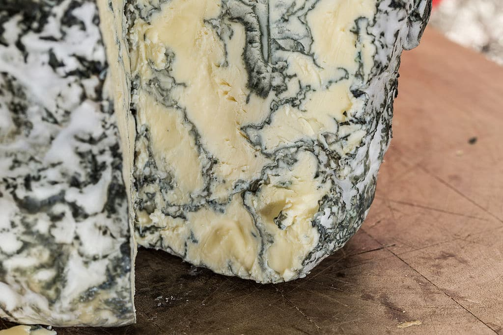 Blue cheese with green veins