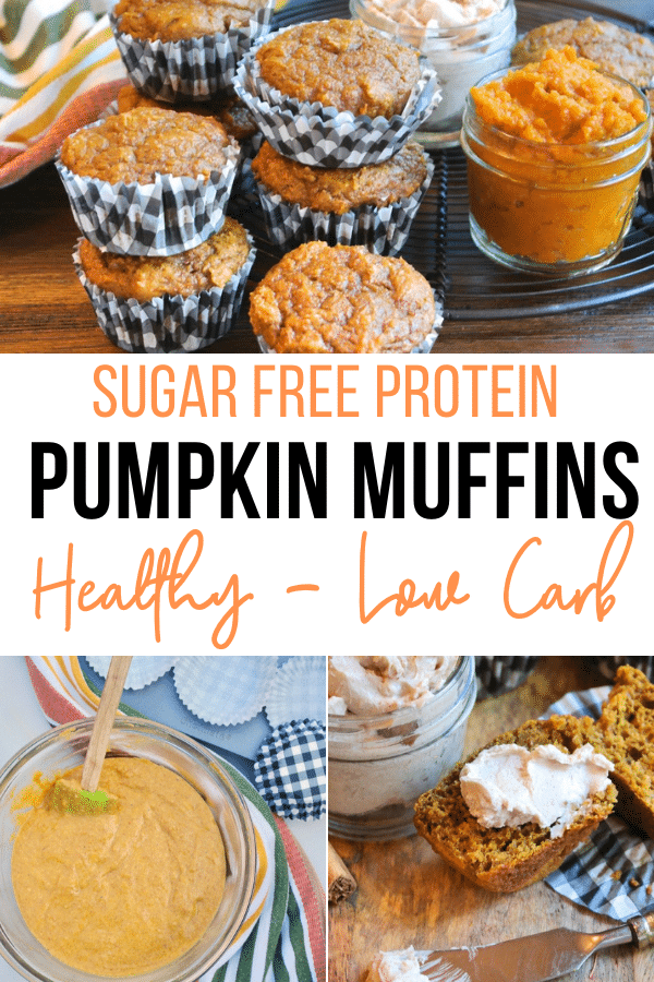 Healthy pumpkin muffins with an extra dose of protein that sticks to your ribs. These sugar free muffins make a great breakfast, snack or afternoon snack!