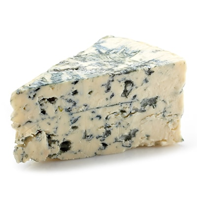 Blue cheese with blue veins.