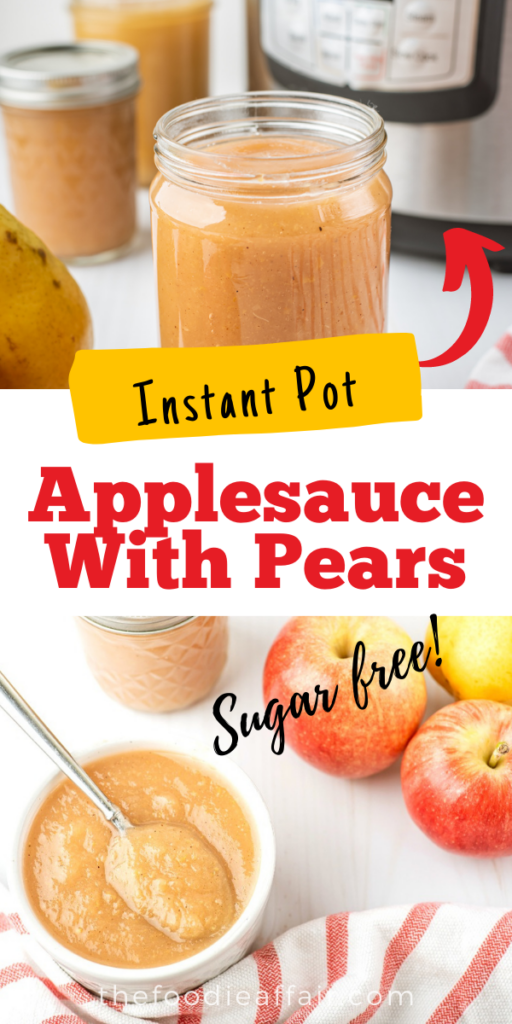 Homemade applesauce with pears made in an Instant Pot. This easy recipe is made in under 30 minutes. Don't bother peeling the fruit, it softens and is undetectable.