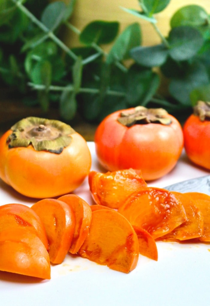 Sliced persimmons for eating or using on salads.