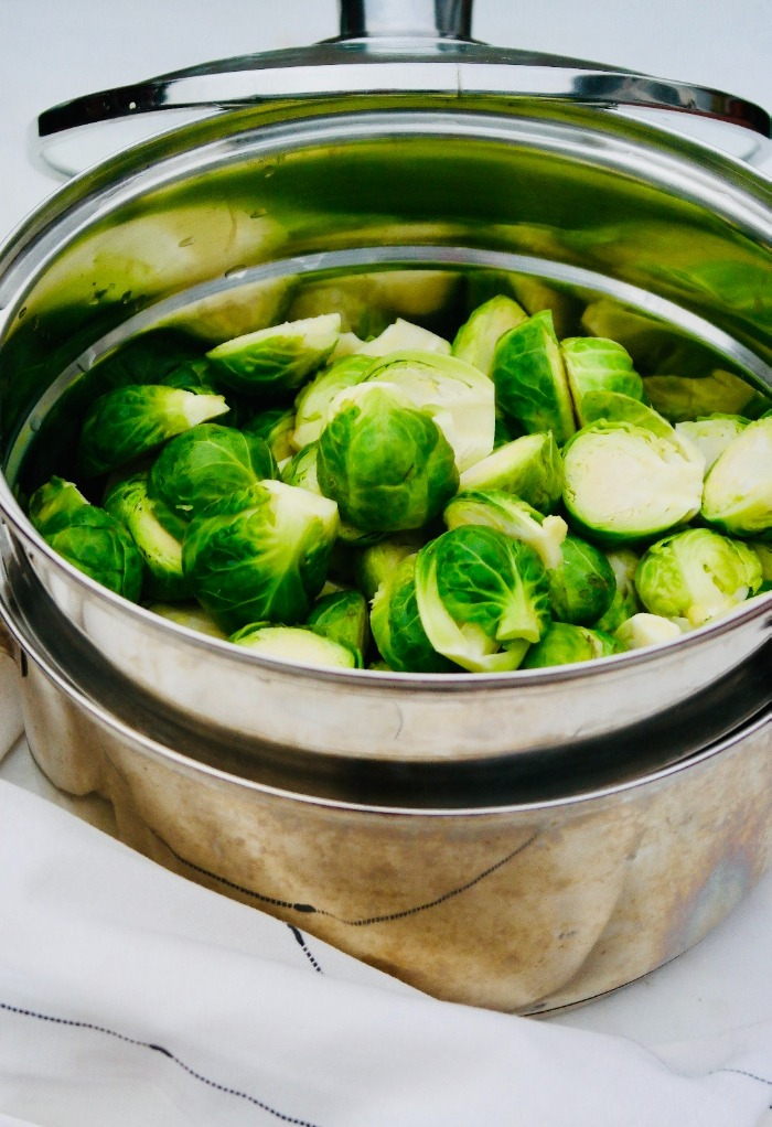 Steamed Brussels sprouts ready to be used for eating or cooking.