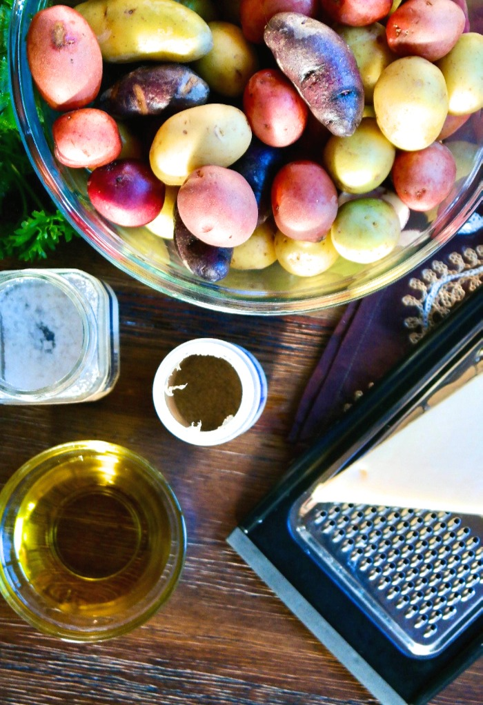 Ingredients to make roasted fingerling potatoes with parmesan cheese.