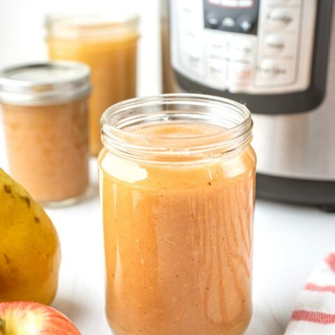 Here is a finished mason jars of applesauce made in an Instant Pot.