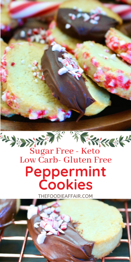 Slice and bake peppermint Christmas cookies made two ways! These are sugar and grain free cookies are the perfect addition to your holiday cookie tray.