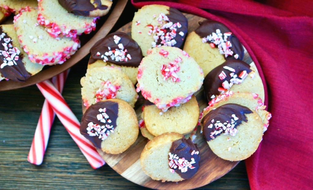 A platter filled with peppermint keto Christmas cookies.