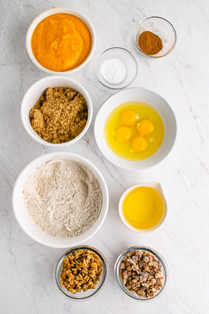 Ingredients to make persimmon quick bread.