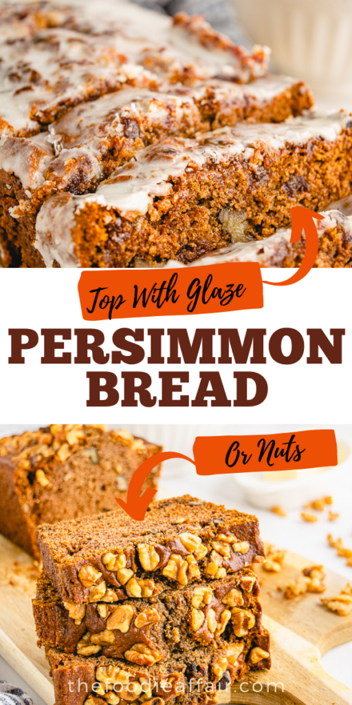 Delicious persimmon bread with a variety of options. Top with a light glaze or chopped walnuts or make one of each version!