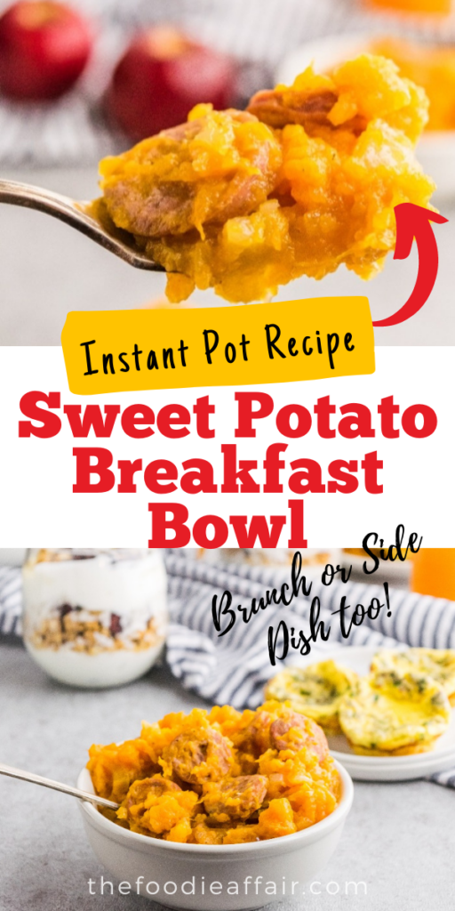 Try this sweet potato breakfast bowl for a nutritious meal. Great way for a hearty meal. Enjoy for brunch, lunch or a side dish too. Change up the flavor profile for an extra delicious meal. #instantpot #savory #breakfastidea