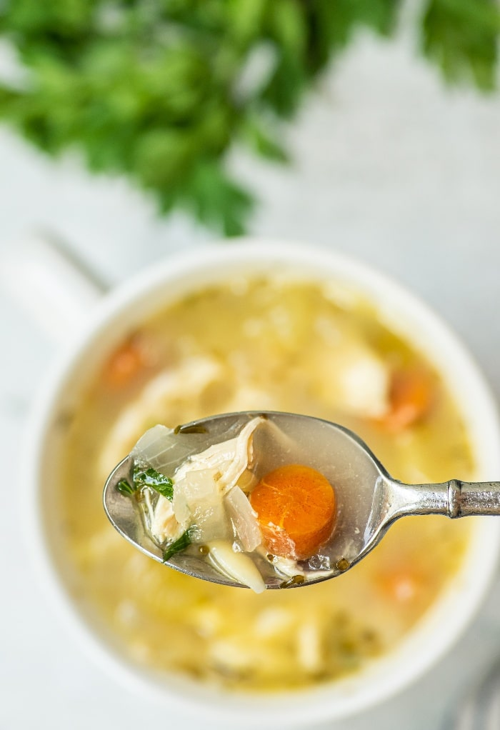 Close view of a spoonful of chicken soup with orzo in a white bowl.