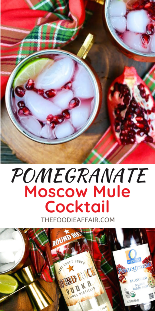 Pomegranate Moscow mule cocktail is a festive twist to the traditional cocktail. Fun holiday celebratory beverage #moscowmule #cocktail #happyhour