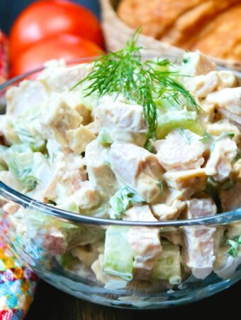 A close view of a classic turkey salad made with Thanksgiving turkey leftovers.