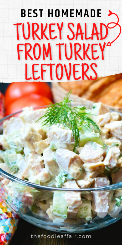 Homemade turkey salad from Thanksgiving leftover turkey. Delicious easy classic recipe! #turkey #salad #leftovers #keto #lowcarb