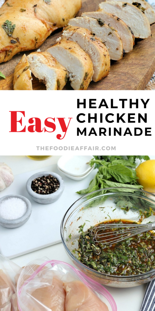 Cooked chicken doesn't have to be bland or smothered in a sauce to add flavor. This marinade recipe is healthy and easy to make! Use on all cuts of chicken, then bake, slow cook or grill. Check out the details on The Foodie Affair blog. #chicken #marinade #healthyrecipe