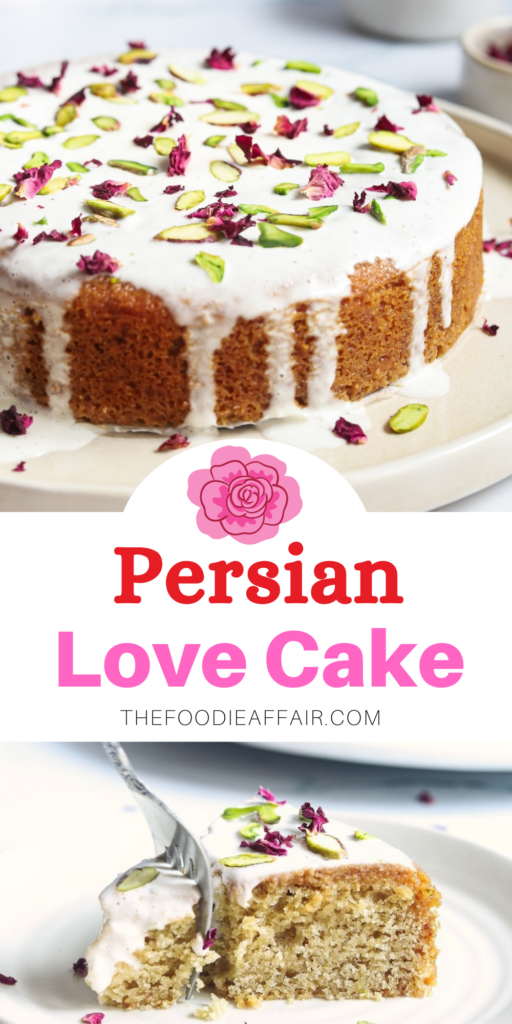Simple and delicious Persian love cake for your valentine. Traditional middle eastern cake with a lovely tale that accompanies it. Dense and sweet cake decorated with rose petals and pistachios. #cake #lovecake #valentinesday