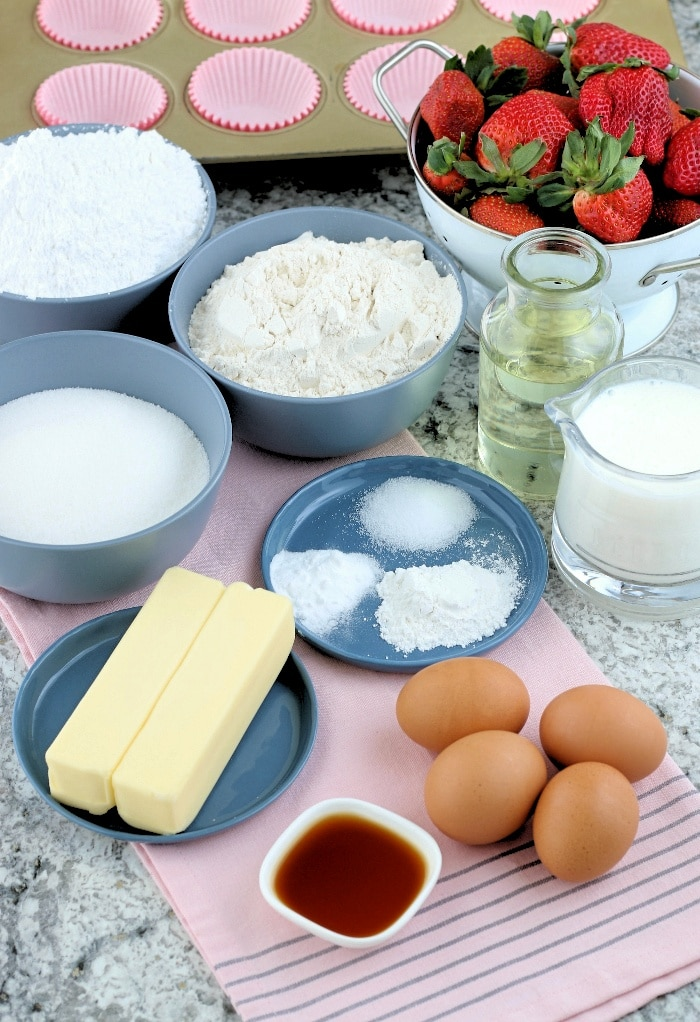 Ingredients to make sugar free cupcakes.