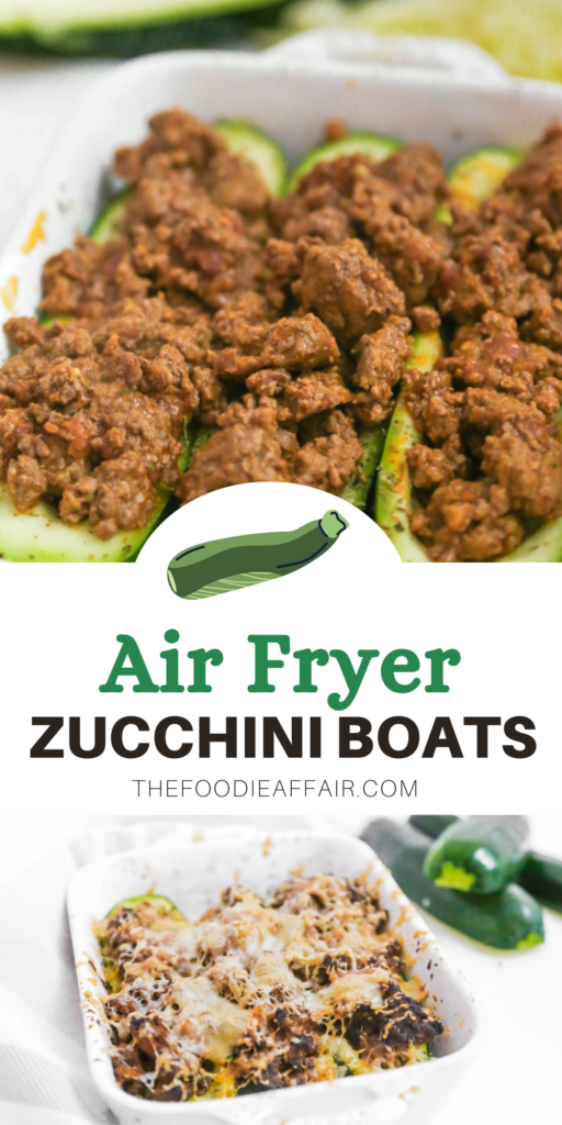 Air fryer zucchini stuffed with hamburger seasoned with Italian spices and topped with cheese. This low carb/keto meal the whole family will enjoy! #airfryer #keto #healthyrecipe
